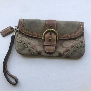"Coach Monogram Leather/Suede Wringlet 7"" Purse"